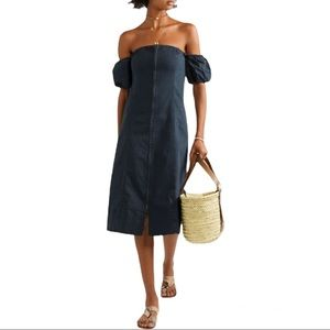 Apiece Apart Navy Isla Mujeres Front Zip A-line Dress Size 4